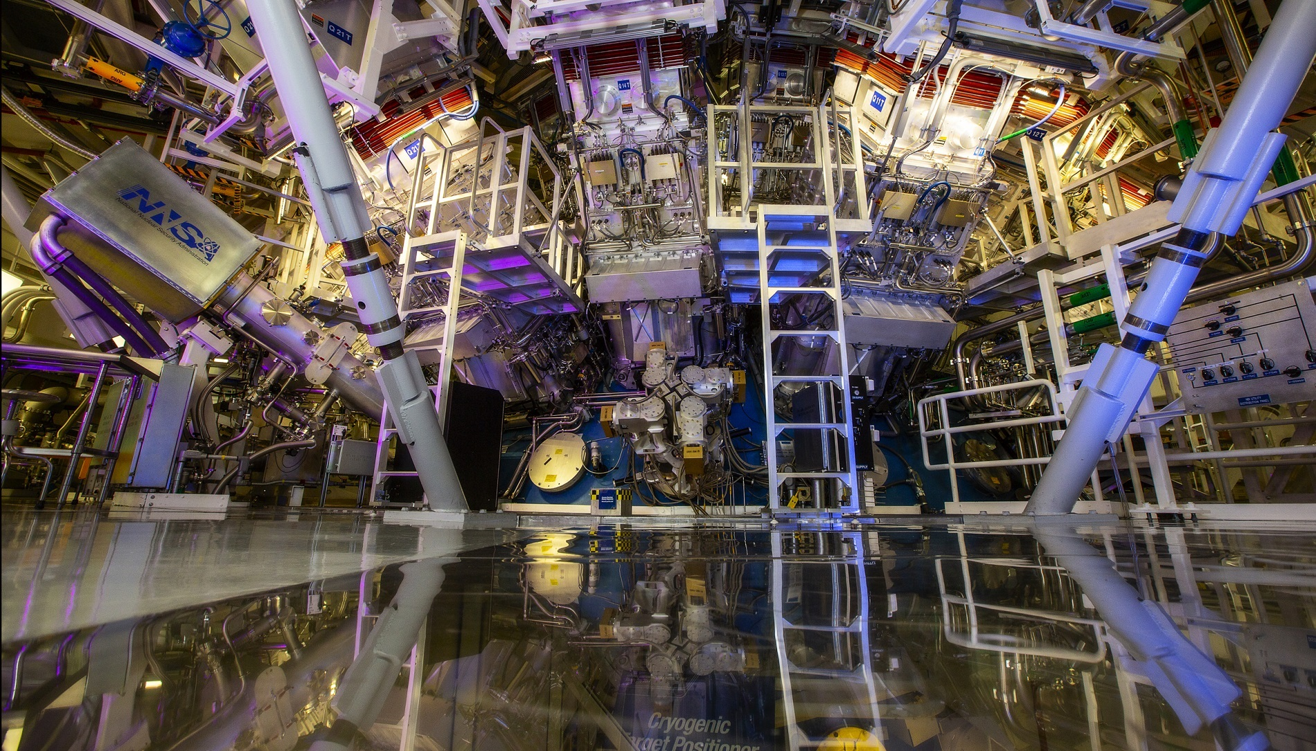 NIF's target chamber is where the magic happens -- temperatures of 100 million degrees and pressures extreme enough to compress the target to densities up to 100 times that of lead are created there