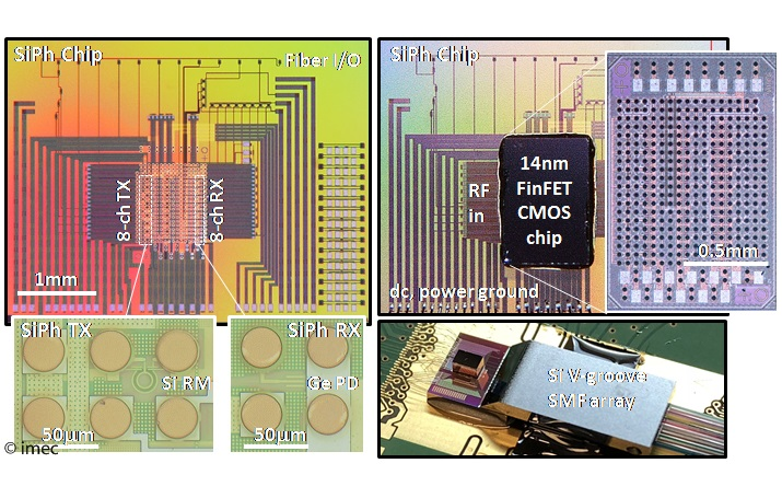 Photographs of the FinFET-Silicon Photonics transceiver assembly.