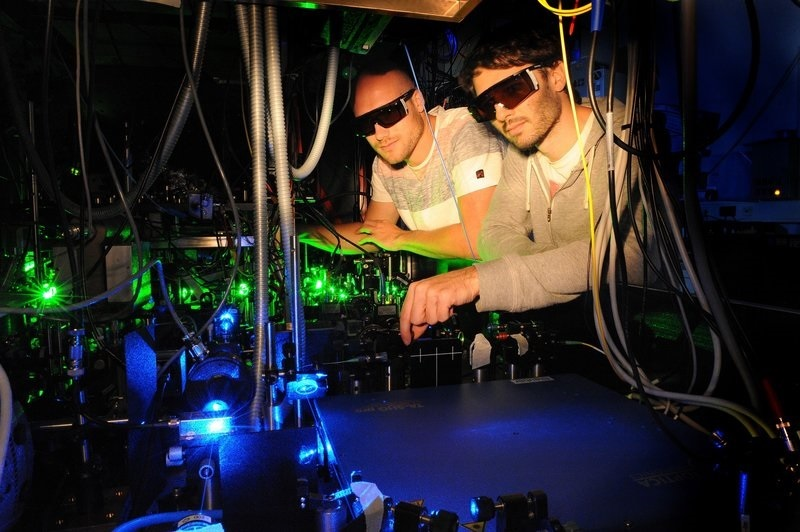Steffen Schmidt-Eberle and colleague Thomas Stolz working in their lab at Max Planck Institute of Quantum Optics to gain fundamental insights for future quantum technologies