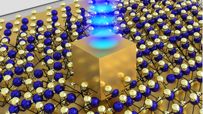 A single gold nanocube sits on top of an atom-thin material made of unique semiconductor crystals