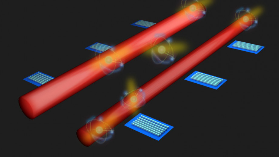 An artist's impression of the research team's innovative system of detectors along quantum circuits to monitor light particles
