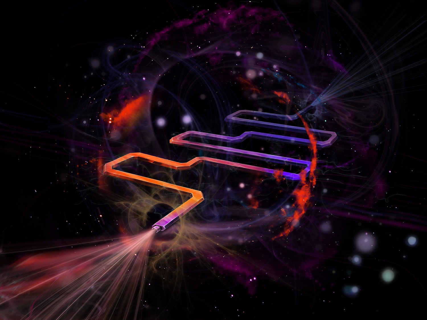 Artistic impression of a superconducting resonator coupled it its quantum-mechanical environment