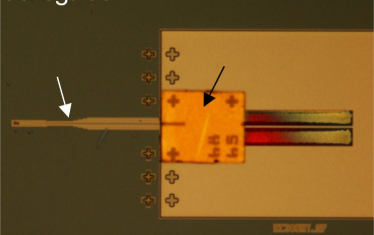 Microscope image of an InP DFB laser assembled on a Si Photonics chip