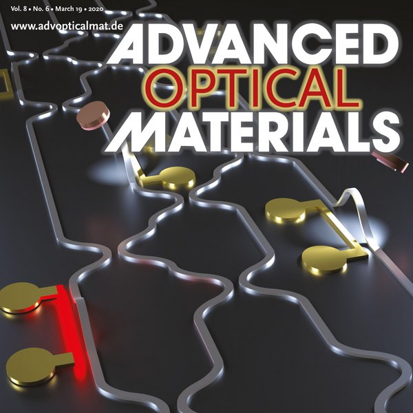 Cover of Advanced Optical Materials Volume 8, Issue 6 featuring the new research of TU/e researchers on reconfigurable photonics.