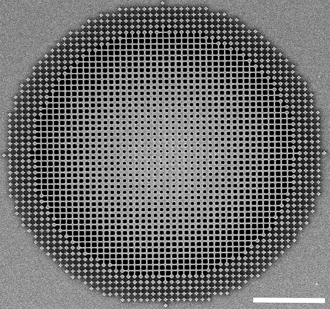 Shown is the fishnet achromatic metalens developed by Berkeley engineers.
