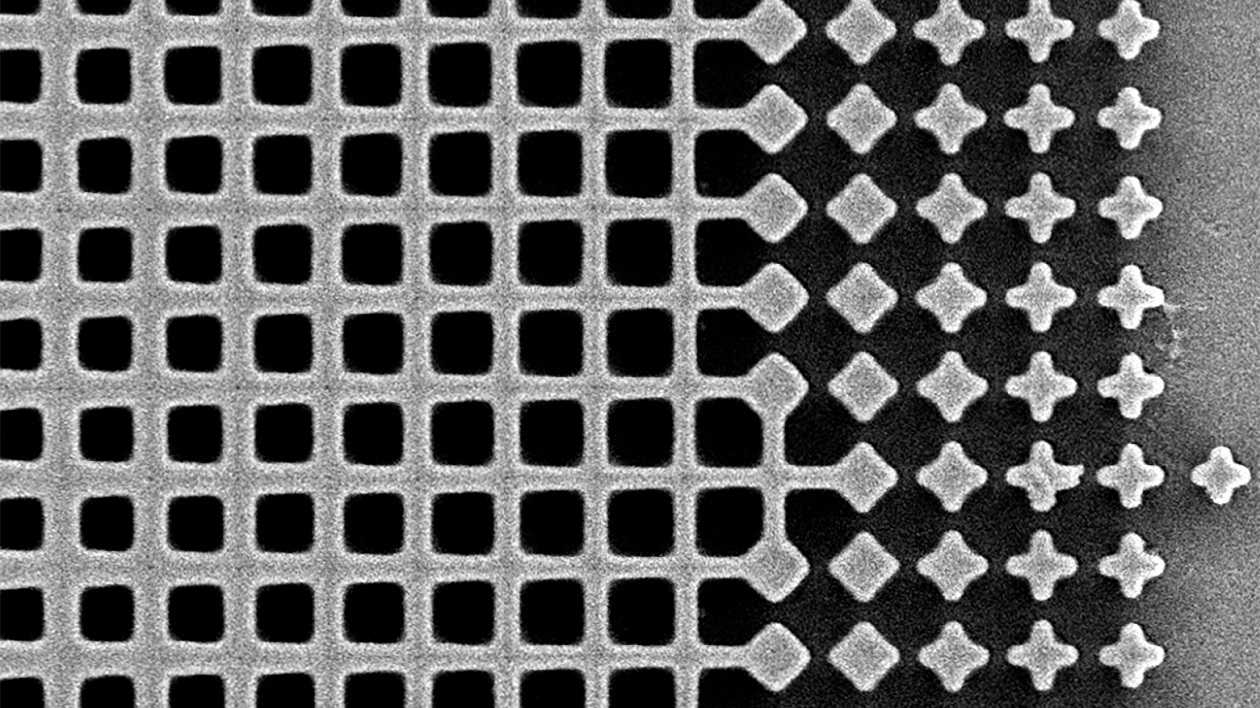 Magnified view of the metalens showing its gradient fishnet pattern