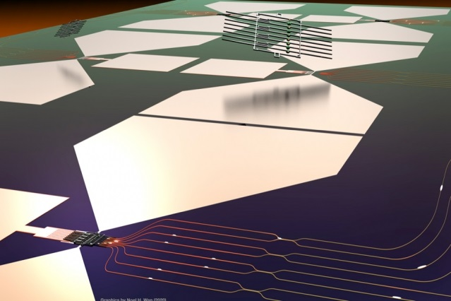 This graphic depicts a stylized rendering of the quantum photonic chip and its assembly process.