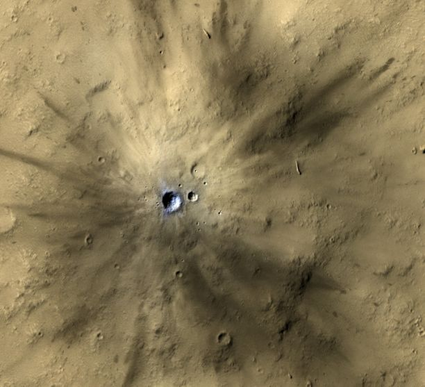 One of many fresh impact craters spotted by the UA-led HiRISE camera