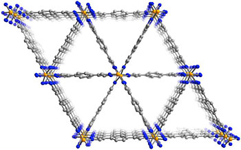 This view of the molecular structure of the MOF shows the triangular channels that run through the material.