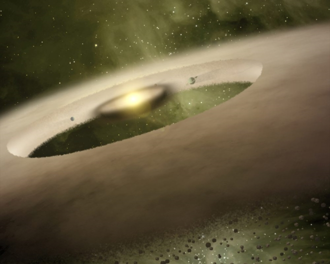 an artist's rendition of a sun-like star as it might have looked at one million years of age