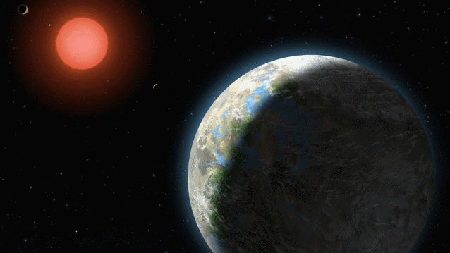 A planet with clouds and surface water orbits a red dwarf star in an artist's conception of the Gliese 581 star system
