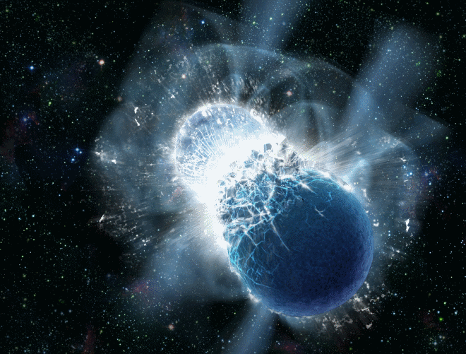 This artist's conception portrays two neutron stars at the moment of collision