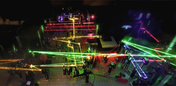 The laser set-up in the lab that led to the research results