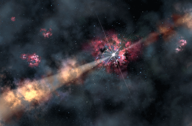 This artist's illustration depicts a gamma-ray burst illuminating clouds of interstellar gas in its host galaxy