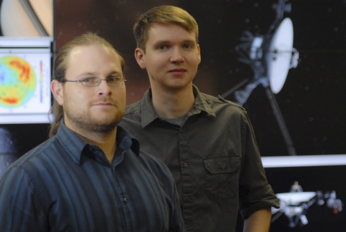 UAH doctoral graduate and NASA analyst Dr. Brian Fayock, left, and UAH graduate student Eric Zirnstein