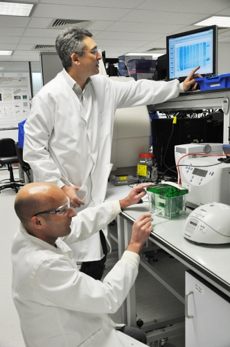 Dr Maurits de Planque and Dr Phillip Williamson in the lab