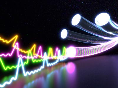 graphical illustration of square-shaped light signals sent through an optic fiber for 10x-enhanced data throughput