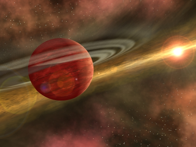 This is an artist's conception of a young planet in a distant orbit around its host star