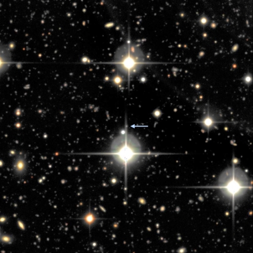 A small portion of one of the fields from the Supernova Legacy Survey showing SNLS-06D4eu and its host galaxy