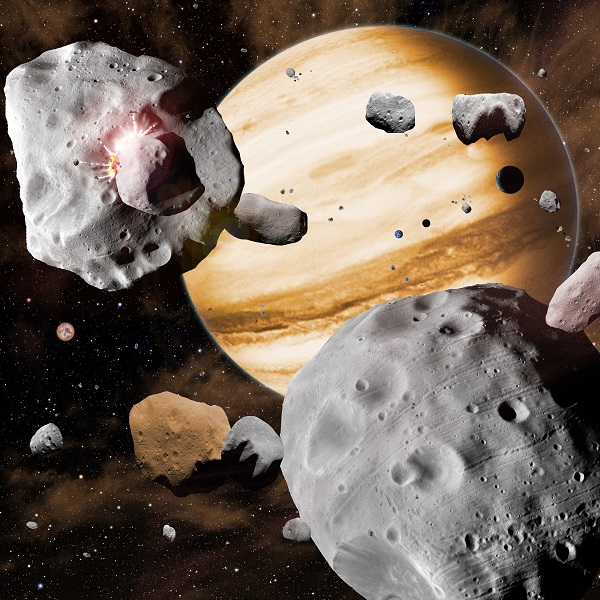 In this artist's conception, Jupiter's migration through the solar system has swept asteroids out of stable orbits, sending them careening into one another