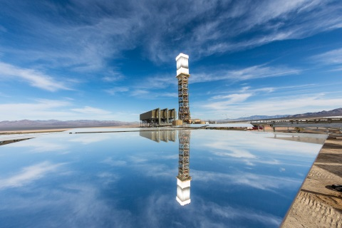 A view of the Ivanpah Solar Electric Generating System tower 1 and power block from the solar field