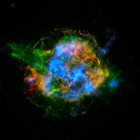 This map of the Cassiopeia A remnant shows radioactive material mapped in high-energy X-rays