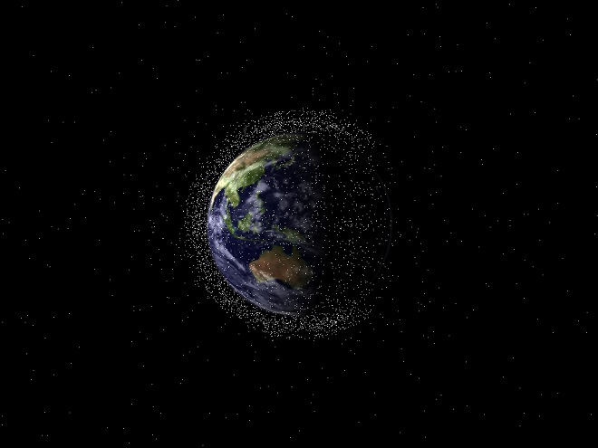 Artist impression of space junk around Earth