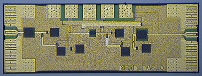 Microphotograph of two stage-235 GHz amplifier Microwave Monolithic Integrated Circuit MMIC