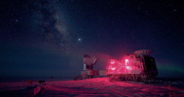 The 10-meter South Pole Telescope and the BICEP Telescope against the Milky Way