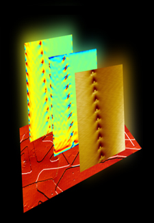 Scanning tunnelling microscopy image of Bi2Se3 topological insulator thin films
