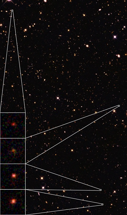 UDS astronomical field, with four of the 15 mature galaxies, based on the infrared light of NASA's Hubble Space Telescope