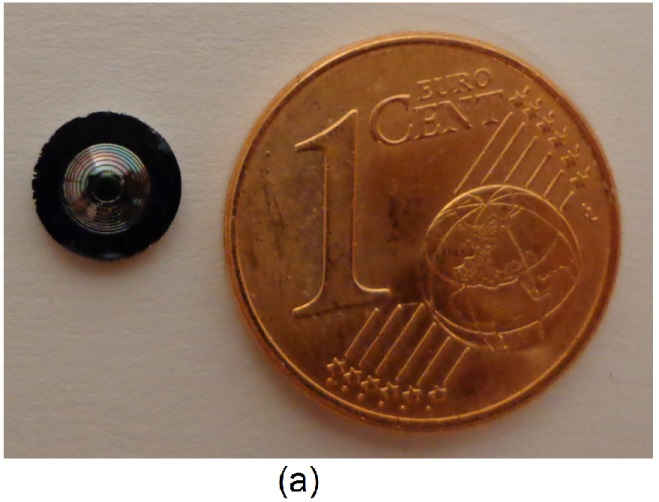 The new Fresnel lens, 1 mm thick and less than 4 mm in useful diameter, with a Euro cent for comparison