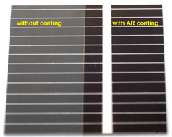 A comparison of the reflection from a cover glass on a crystalline Silicon cell with and without the multilayer AR coating