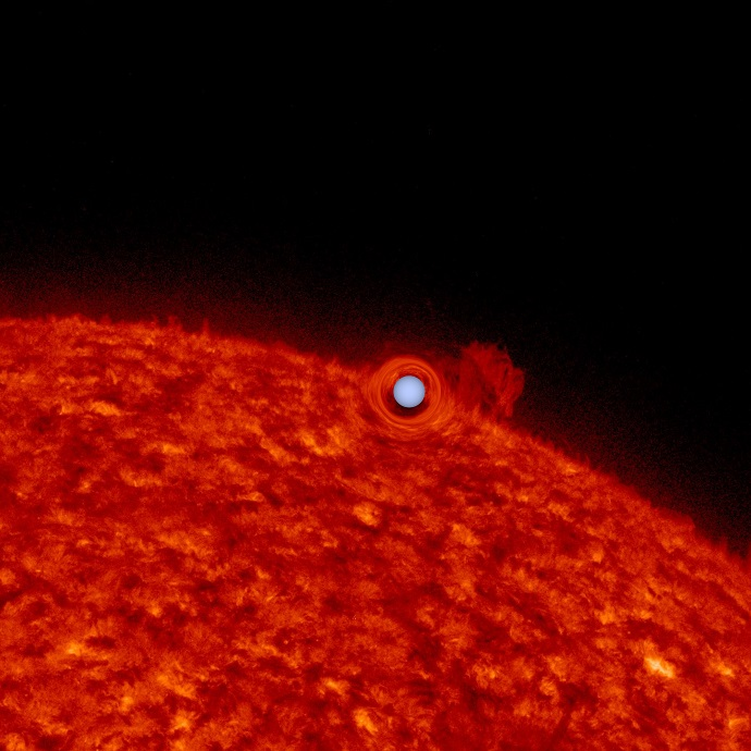 An image of the Sun used to simulate what the sun-like star in a self-lensing binary star system might look like
