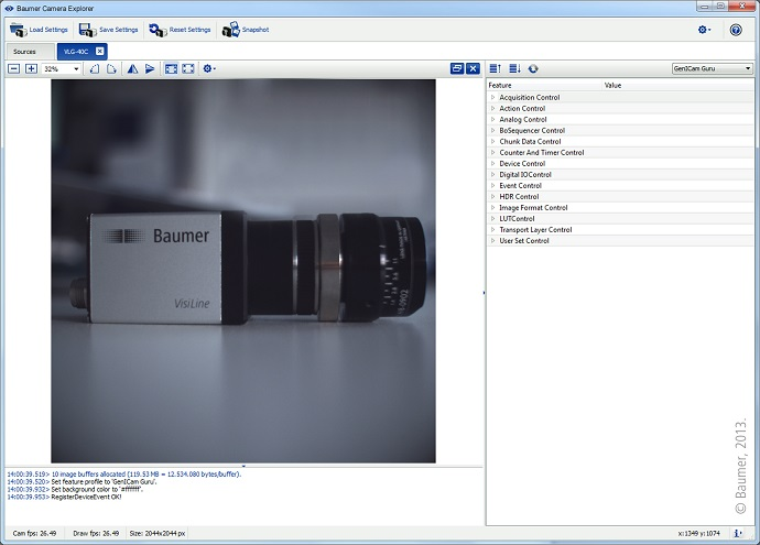 The improved Camera Explorer in the latest version of the Baumer GAPI software development kit