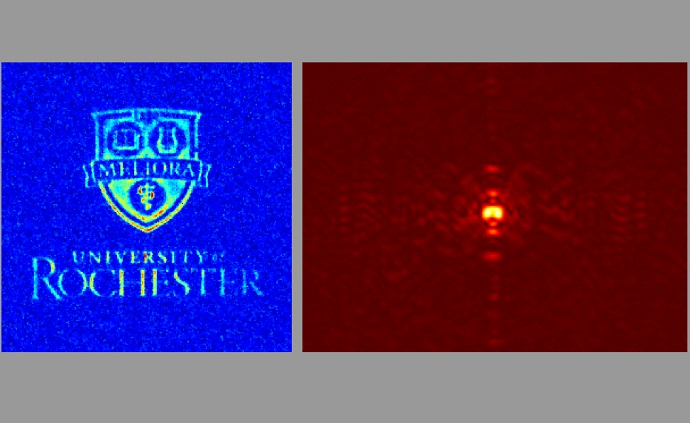 Recovered position and momentum images showing how compressive sensing can be used to measure two conjugate variables, in this case using the university logo as an object