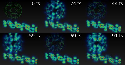 Photos of the simulation of the evolution in the transfer of charge from the polymer to the fullerene in femtoseconds