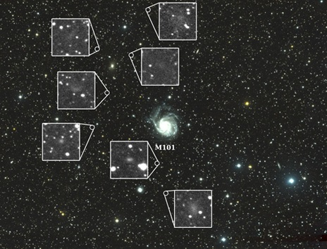 This image shows the field of view from the Dragonfly Telephoto Array, centered on M101. Inset images highlight the seven newly discovered galaxies