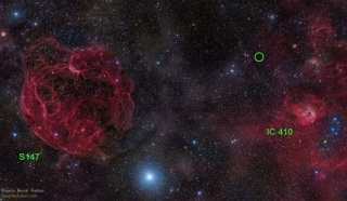 Optical sky image of the area in the constellation Auriga where the fast radio burst FRB 121102 has been detected