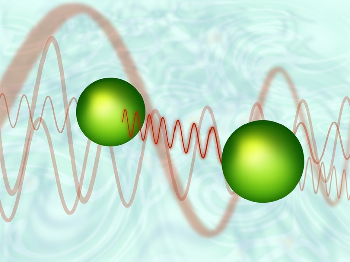 Two atoms exchanging a virtual photon. Empty space around them is not as empty as one might think