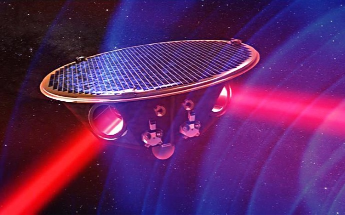 In the project eLISA, a mother satellite sends laser beams to two daughter satellites