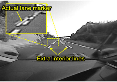 Multiple lane markers viewed through wide-angle lens
