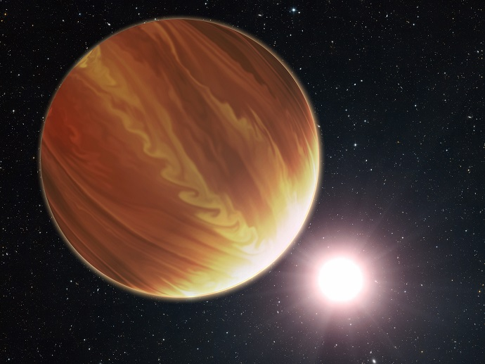 artistic illustration of the gas giant planet HD 209458b
