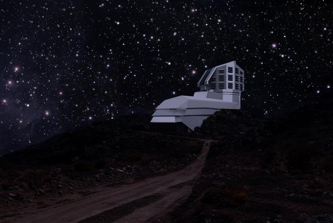 A photograph and a rendering mix, showing the Large Synoptic Survey Telescope