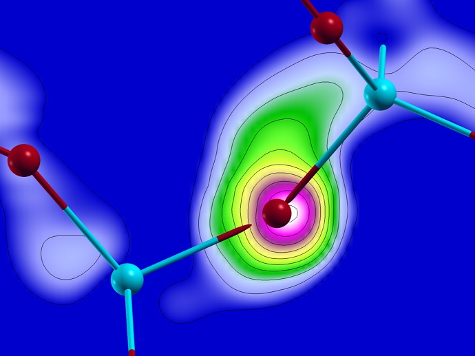Computer simulations show the electron flux from one atom to the others