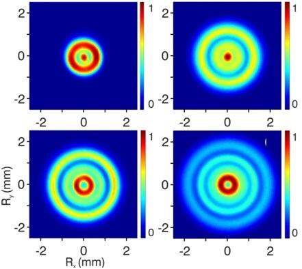 Sample images recorded for ionization of helium atoms