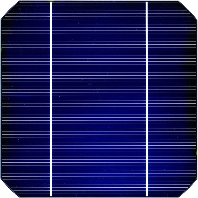 Frontside of a conventional solar cell with contacts