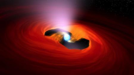This illustration depicts a pulsar pulling in material from a companion