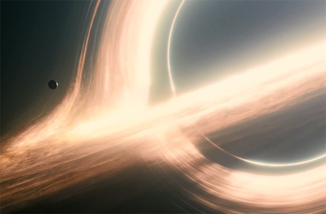 A black hole as depicted in the movie Interstellar
