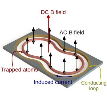 Shaped atom-chip microtrap comprised of a conducting loop in which currents are induced in the same way as a transformer